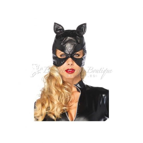 Faux Leather Cat Mask Hood